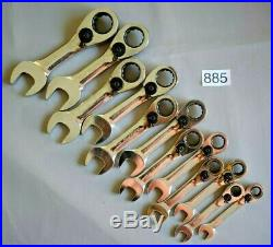 Snap On Tools Blue-Point 12pc Reversible Short Ratchet Spanner Set rrp£227 (885)