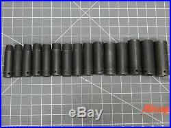 Snap On Tools Metric 1/2 Drive Deep Impact Socket Set 15Pc 10MM 24MM SIMM 6Pt Dr