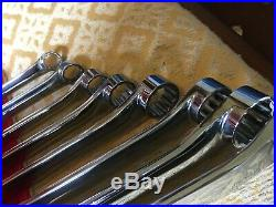 Snap On USA Set Of 8 Extra Long Off-set Ring Spanners Xdhm 8-20mm Flank Drive