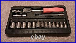 Snap On tools 17pc 1/4 drive socket set 6 point metric 117TTM extension