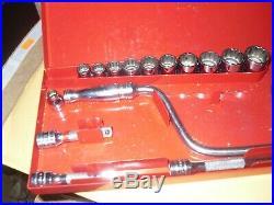 Snap on 18pc 3/8 Dr 12pt SAE General Service Ratchet Socket Universal Set