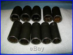 Snap-on 1/2 drive 25 to 36 mm 6-point DEEP Impact Socket Set 310SIMMADDON ExC