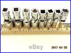 Snap-on 5/16 to 3/4 Deep Universal Flex Swivel 6pt 3/8dr 8 SAE socket set tools
