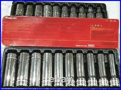 Snap-on Tools 30 Piece Socket Set 1 Ratchet 1 Long Drive As Seen Never Used