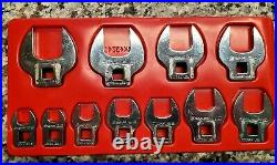 Snap-on tools 3/8 drive 11 piece SAE Crowfoot Wrench Set 3/8 to 1