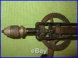 Stanley Rare Pistol Grip Hand Drill Works Black Chuck Antique Hand Tool Rare 610