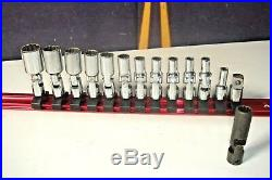 Swivel 1/4 Socket Set 14 Piece 12 Point Snap-On Tools With Rail 3/16- 9/16 G8
