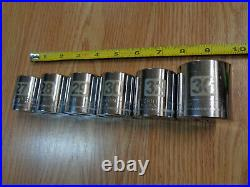 USA Made CRAFTSMAN 1/2 Drive LARGE METRIC SOCKET SET 6pc EASY READ Laser Etched