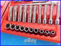Used, Snap On 1/4 In. Dr. Socket Set Metric & Sae In Box, Ratchet, Etc. 45 Pc