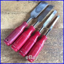 Vintage BERG & BAHCO Set Of 4 Swedish BEVELLED CHISELS Old Antique Hand Tool 629
