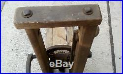 Vintage Barn Beam Post Drill Press Auger Framing Hand Crank Pin Primitive Farm