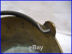 Vintage Colonial Solid Brass Bucket Hand Wrought/Forged Handle Tool Kettle Pot C