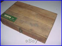 Vintage IRWIN Auger Drill Bit Set Hand Drill Bits Wood Box withUnusual Power Brace