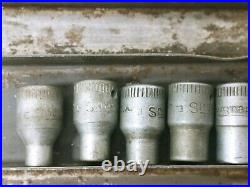 Vintage Snap-On Midget 1/4 drive Socket & Ratchet Set Original Metal Case WWII