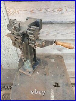 Vintage leather cutting machine hand crank cutter splice cobbler tool bernstein