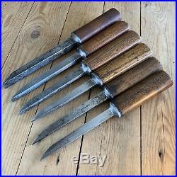 Vintage set of 6 MORTICE MORTISE CHISELS Ward Wood Handle Old Hand Tool #665