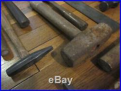 Vtg Blacksmith Farrier Anvil Forge Hammer Hand Made Rule Forming Tool Lot FreeSH