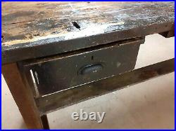 Wood Work Bench With Vice And Drawers